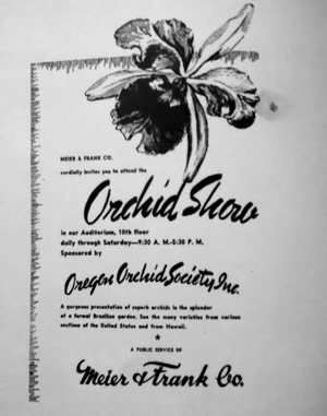 Advertisement for the first Oregon Orchid Show