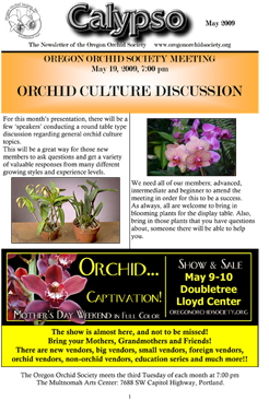 Calypso is the newsletter for the Oregon Orchid Society, Portland, OR
